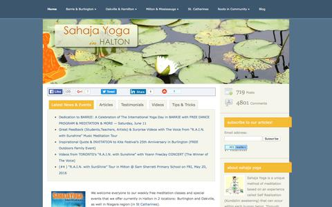 Screenshot of Home Page free-meditation.ca - Sahaja Yoga Halton & Niagara | Free meditation classes in Burlington, Oakville, Milton-Mississauga and St.Catharines - captured June 13, 2016