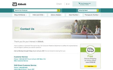 Screenshot of Support Page abbottstore.com - Contact Us - captured Oct. 30, 2014