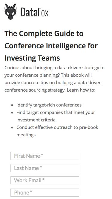 Screenshot of Landing Page  datafox.com - The Definitive Guide to Building a Data-Driven Conference Strategy