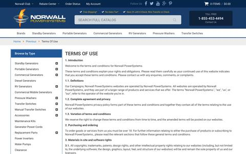 Screenshot of Terms Page norwall.com - Terms Of Use - captured Jan. 14, 2016