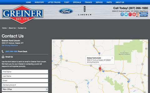 Screenshot of Contact Page greinerford.com - Contact Greiner Ford Lincoln in Casper WY - captured Oct. 3, 2014