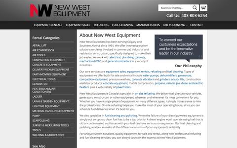 Screenshot of About Page newwestequipment.com - About New West Equipment in Calgary, Alberta | History of New West Equipment in the Calgary area - captured Nov. 7, 2017