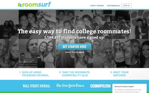 Screenshot of Home Page roomsurf.com - Roomsurf Customer Support says… - captured April 15, 2018
