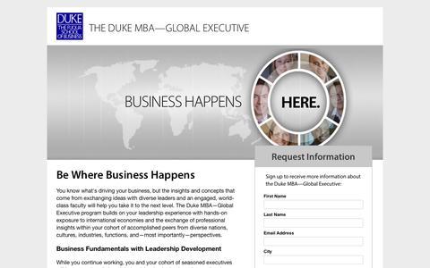 Screenshot of Landing Page duke.edu - The Duke MBA—Global Executive - Request Information - captured July 3, 2017