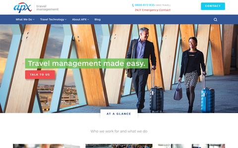 Screenshot of Home Page apx.co.nz - APX | Business and Corporate Travel Management - captured Nov. 19, 2016