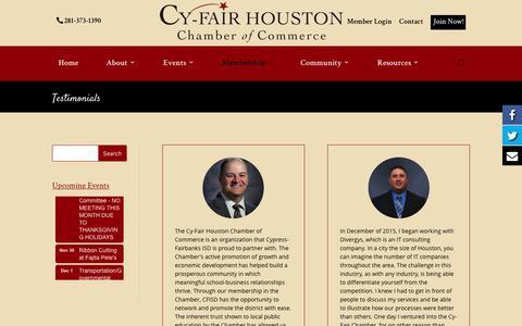 Screenshot of Testimonials Page cyfairchamber.com - Testimonials | Cy-Fair Houston | Chamber of Commerce - captured Nov. 15, 2016