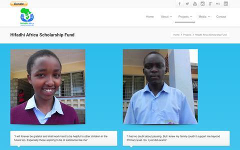 Screenshot of Testimonials Page hifadhiafrica.org - Hifadhi Africa Scholarship Fund | Hifadhi Africa - captured Aug. 10, 2017