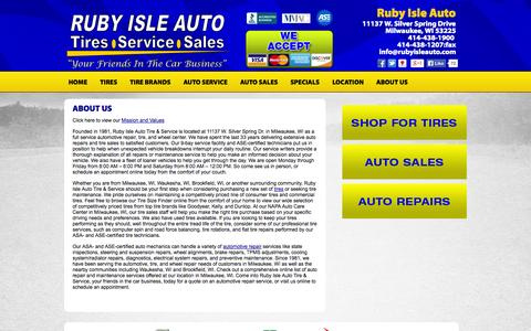 Screenshot of About Page rubyisleauto.com - About Ruby Isle Auto Tire & Service :: Milwaukee, Wisconsin  Tires Shop - captured Oct. 7, 2014