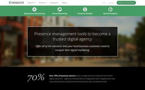 Screenshot of Products Page vendasta.com - Reputation Mangement & Online Presence Tools | White Label Platform | Vendasta Technologies - captured Oct. 30, 2014