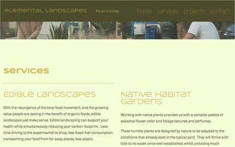 Screenshot of Services Page artofecology.com - Services — Elemental Landscapes - captured Sept. 20, 2017