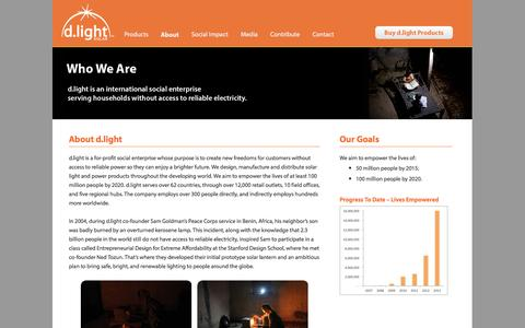 Screenshot of About Page dlightdesign.com - Who We Are | d.light - captured Sept. 16, 2014