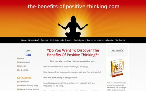 Screenshot of Home Page the-benefits-of-positive-thinking.com - The Benefits Of Positive Thinking - captured Oct. 16, 2015