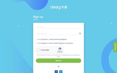 Screenshot of Signup Page designhill.com - Register a New Account  | Designhill - captured Feb. 1, 2020