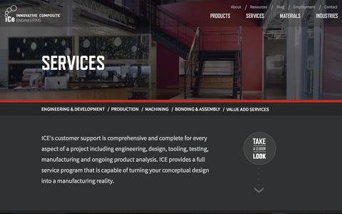 Screenshot of Services Page innovativecomposite.com - Composite Solution Services • Innovative Composite Engineering - captured Nov. 3, 2014