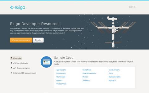 Screenshot of Developers Page exigo.com - Exigo Developers - captured Sept. 22, 2014