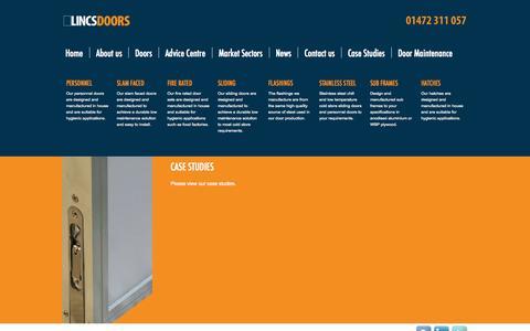 Screenshot of Case Studies Page lincsdoors.co.uk - Case Studies from Lincs Doors - captured Oct. 2, 2014