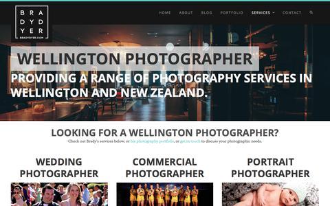 Screenshot of Services Page bradydyer.com - Wellington Photographer - Brady Dyer Photography - captured Oct. 11, 2017