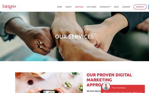 Screenshot of Services Page tangoo.ca - Services — Tangoo | Vancouver Restaurant Social Media, PR, Creative Marketing Agency - captured Nov. 19, 2018