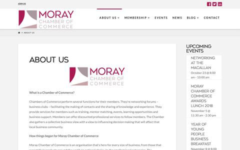 Screenshot of About Page moraychamber.co.uk - About Us | Moray Chamber of Commerce - captured Oct. 18, 2018