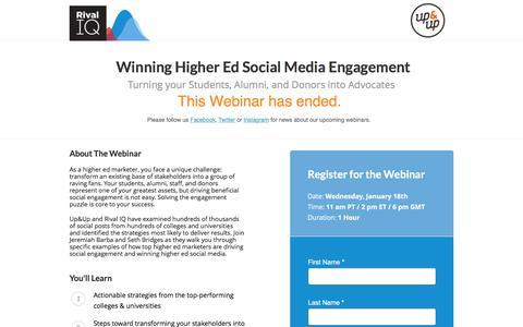 Screenshot of Landing Page rivaliq.com - Webinar: Higher Ed Social Media Engagement - captured Jan. 22, 2017