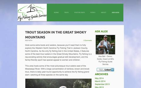 Screenshot of Blog abfish.org - Alex Bell Fly Fishing Guide - Fly Fishing Blog Tips and Events - captured Oct. 4, 2014