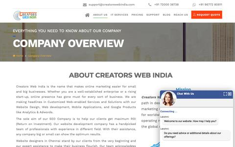 Screenshot of About Page creatorswebindia.com - Leading Web Design Company | Website Outsourcing Companies in India - captured Nov. 5, 2018