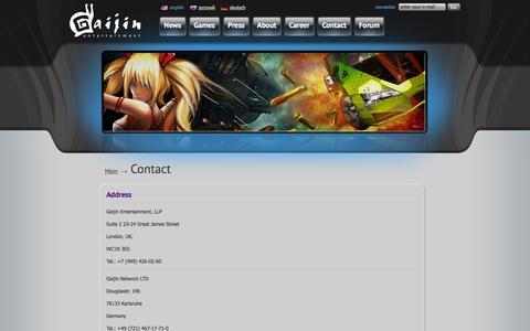 Screenshot of Contact Page gaijinent.com - Gaijin Entertainment | Contacts - captured Sept. 22, 2014
