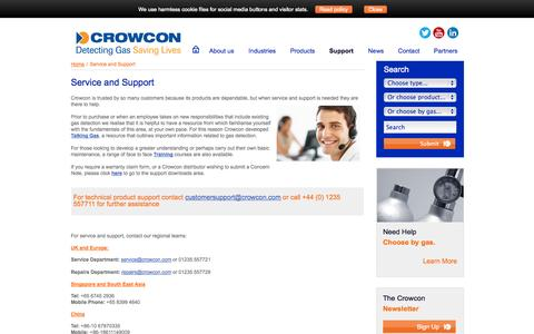 Screenshot of Support Page crowcon.com - Crowcon Gas Detection, Service and Support, Talking Gas - captured Oct. 10, 2014