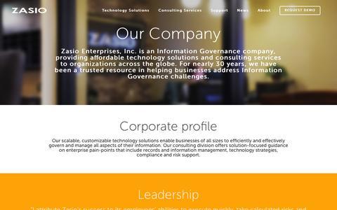 Screenshot of About Page zasio.com - Zasio |   Our Company - captured Feb. 26, 2016