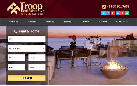 Screenshot of Home Page troop.com - Troop Real Estate, Inc. | The Independent Difference - captured Oct. 1, 2014
