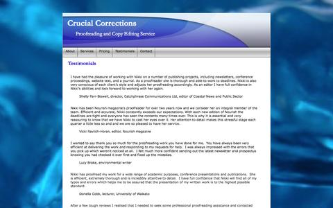 Screenshot of Testimonials Page crucialcorrections.co.nz - New Zealand Proofreader and Copy Editor - captured Sept. 30, 2014