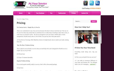 Screenshot of Pricing Page at-your-service.co.uk - At Your Service Concierge, Leeds | Pricing - captured Oct. 4, 2018