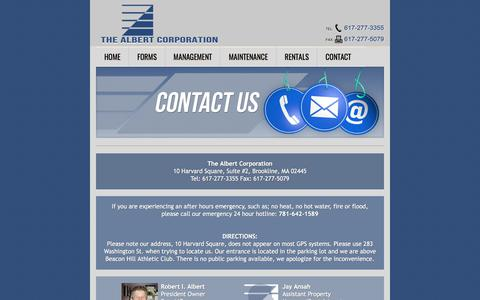Screenshot of Contact Page albertcorp.com - The Albert Corporation - Contact Us - captured Oct. 27, 2017