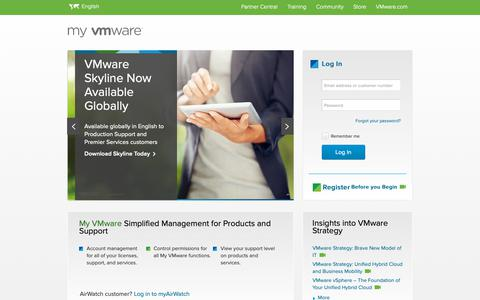 Screenshot of Login Page vmware.com - My VMware - Get Personalized Support Quickly and Easily | VMware Support - captured Nov. 17, 2018