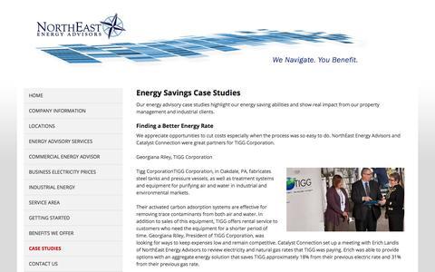 Screenshot of Case Studies Page northeastenergyadvisors.com - Energy Savings Case Studies Northeastern Energy Advisors - captured Sept. 20, 2018