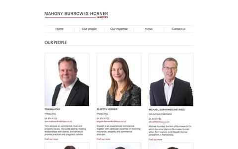 Screenshot of Team Page mbhlaw.co.nz - Our People at Mahony Burrowes Horner Lawyers, Wellington, NZ - captured Oct. 5, 2017