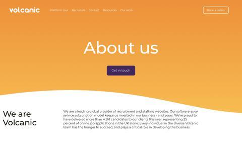 Screenshot of About Page volcanic.co.uk - Recruitment website design  · Volcanic UK - captured Sept. 20, 2018