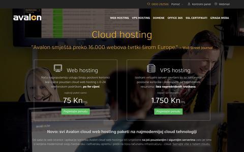 Screenshot of Home Page biz.hr - Cloud hosting  - Avalon hosting - captured Feb. 17, 2016