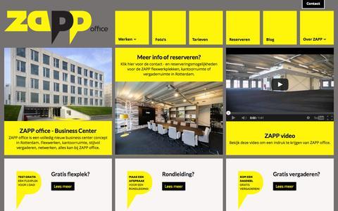 Screenshot of Home Page zappoffice.nl - Kantoor, flexplek of bedrijfsruimte huren in Rotterdam bij ZAPP office - captured Oct. 7, 2014