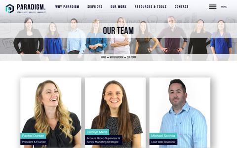 Screenshot of Team Page paradigmmarketinganddesign.com - Our Team - captured Sept. 22, 2018