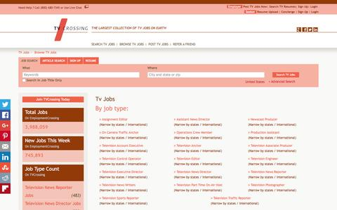 Screenshot of Jobs Page tvcrossing.com - TV Jobs, Browse Jobs in TV By Job Type, City, State in United States   TVCrossing.com - captured Jan. 12, 2016