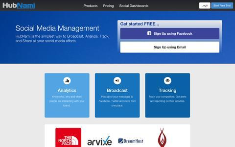 Screenshot of Home Page hubnami.com - Social Media Marketing, Statistics & Monitoring Tools - captured Sept. 11, 2014