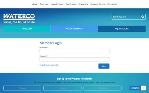 Screenshot of Login Page waterco.com.au - Waterco - captured Oct. 18, 2018