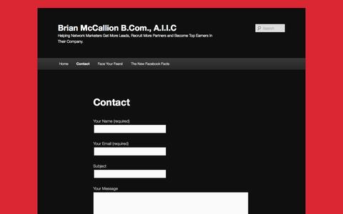 Screenshot of Contact Page bmccallion.com - Contact | Brian McCallion B.Com., A.I.I.C - captured Oct. 5, 2014