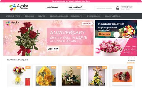 Screenshot of Home Page ayokaflowers.com - Ayoka Flowers | Home - captured May 31, 2017