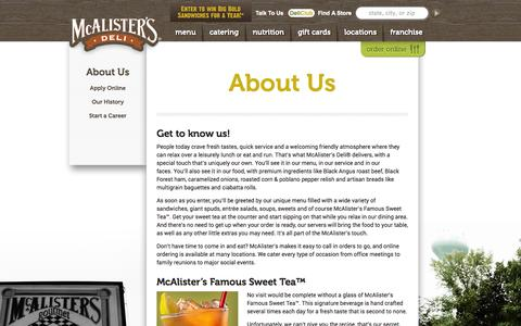 Screenshot of About Page mcalistersdeli.com - About Us | McAlister's Deli - captured Oct. 27, 2014
