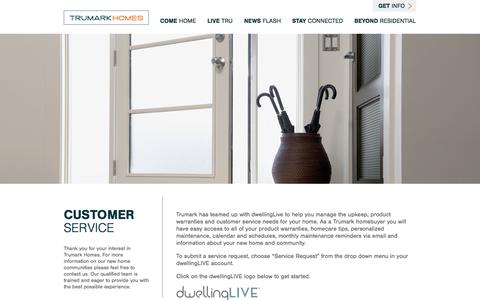 Screenshot of Support Page trumarkhomes.com - Customer Service - Trumark Homes – Trumark Homes - captured Oct. 2, 2014