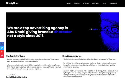 Screenshot of Home Page 9tnine.net - Top advertising Agency in Abu Dhabi since 2013 - captured Sept. 19, 2018