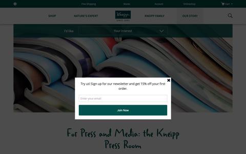 Screenshot of Press Page kneipp.com - Press | Kneipp - captured Oct. 15, 2018