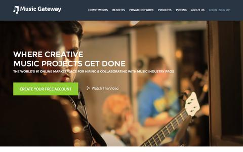 Screenshot of Home Page musicgateway.net - Music Collaboration | Music Career Development | Music Industry Jobs - captured Sept. 21, 2015